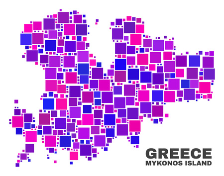 Mosaic Mykonos Island map isolated on a white background. Vector geographic abstraction in pink and violet colors. Mosaic of Mykonos Island map combined of random square elements.