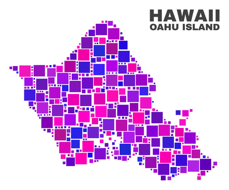 Mosaic Oahu Island map isolated on a white background. Vector geographic abstraction in pink and violet colors. Mosaic of Oahu Island map combined of scattered square elements. 矢量图像