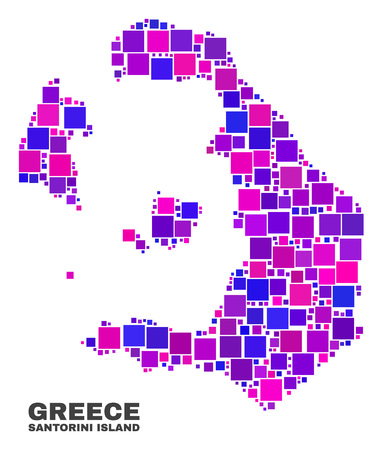 Mosaic Santorini Island map isolated on a white background. Vector geographic abstraction in pink and violet colors. Mosaic of Santorini Island map combined of random square elements.
