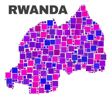 Mosaic Rwanda map isolated on a white background. Vector geographic abstraction in pink and violet colors. Mosaic of Rwanda map combined of random square elements.