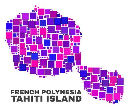 Mosaic Tahiti Island map isolated on a white background. Vector geographic abstraction in pink and violet colors. Mosaic of Tahiti Island map combined of scattered square elements.
