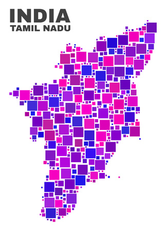 Mosaic Tamil Nadu State map isolated on a white background. Vector geographic abstraction in pink and violet colors. Mosaic of Tamil Nadu State map combined of random square elements.