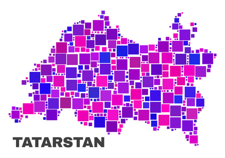 Mosaic Tatarstan map isolated on a white background. Vector geographic abstraction in pink and violet colors. Mosaic of Tatarstan map combined of random square elements.