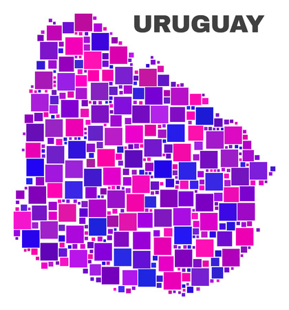 Mosaic Uruguay map isolated on a white background. Vector geographic abstraction in pink and violet colors. Mosaic of Uruguay map combined of random square elements.