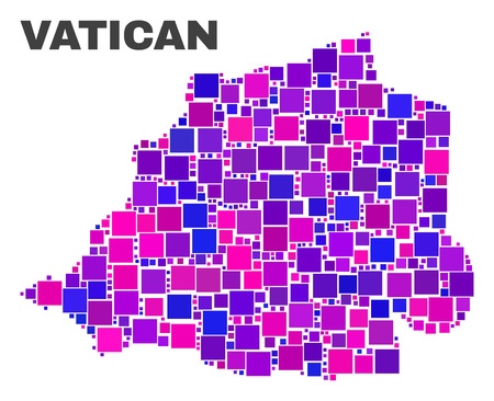 Mosaic Vatican map isolated on a white background. Vector geographic abstraction in pink and violet colors. Mosaic of Vatican map combined of random square elements. 向量圖像