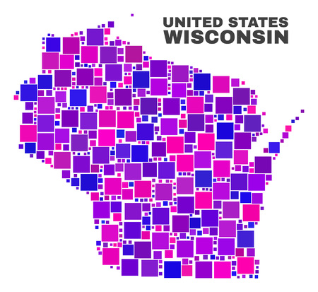 Mosaic Wisconsin State map isolated on a white background. Vector geographic abstraction in pink and violet colors. Mosaic of Wisconsin State map combined of random square elements.