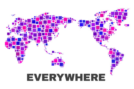 Mosaic World map isolated on a white background. Vector geographic abstraction in pink and violet colors. Mosaic of World map combined of random small squares.
