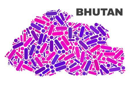 Mosaic Bhutan map isolated on a white background. Vector geographic abstraction in pink and violet colors. Mosaic of Bhutan map combined of random circle points and lines.