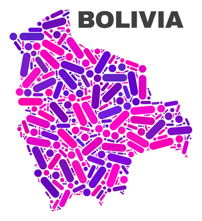 Mosaic Bolivia map isolated on a white background. Vector geographic abstraction in pink and violet colors. Mosaic of Bolivia map combined of scattered circle dots and lines.
