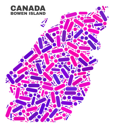 Mosaic Bowen Island map isolated on a white background. Vector geographic abstraction in pink and violet colors. Mosaic of Bowen Island map combined of scattered circle points and lines. Иллюстрация