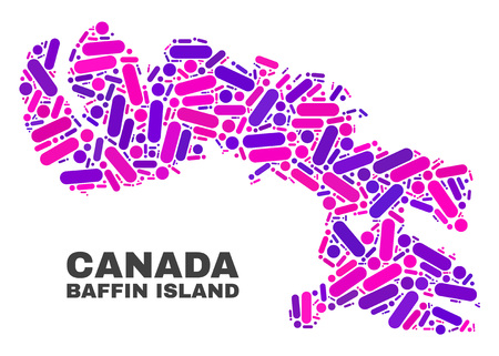 Mosaic Baffin Island map isolated on a white background. Vector geographic abstraction in pink and violet colors. Mosaic of Baffin Island map combined of scattered circle points and lines.