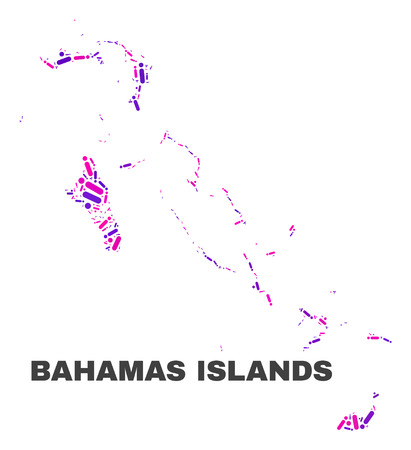 Mosaic Bahamas Islands map isolated on a white background. Vector geographic abstraction in pink and violet colors. Mosaic of Bahamas Islands map combined of random circle dots and lines. Illustration