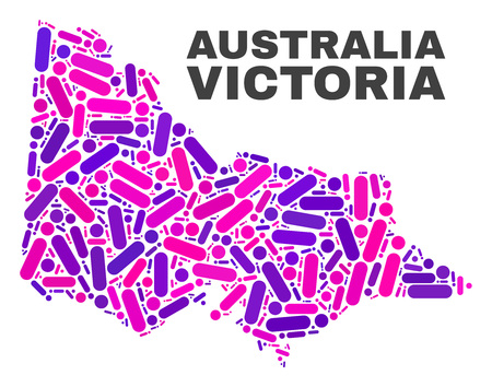 Mosaic Australian Victoria map isolated on a white background. Vector geographic abstraction in pink and violet colors. Mosaic of Australian Victoria map combined of scattered circle dots and lines.