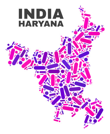 Mosaic Haryana State map isolated on a white background. Vector geographic abstraction in pink and violet colors. Mosaic of Haryana State map combined of scattered circle points and lines.