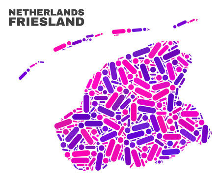 Mosaic Friesland Province map isolated on a white background. Vector geographic abstraction in pink and violet colors. Mosaic of Friesland Province map combined of random round dots and lines.