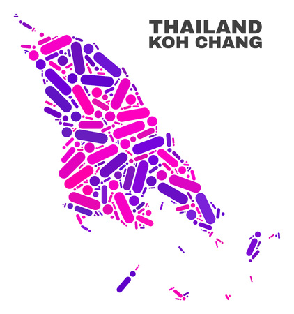 Mosaic Koh Chang map isolated on a white background. Vector geographic abstraction in pink and violet colors. Mosaic of Koh Chang map combined of random round dots and lines.