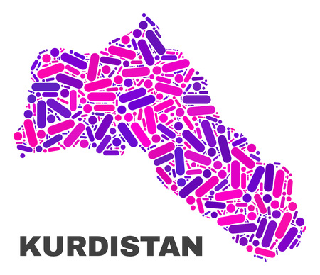 Mosaic Kurdistan map isolated on a white background. Vector geographic abstraction in pink and violet colors. Mosaic of Kurdistan map combined of scattered round dots and lines. Çizim