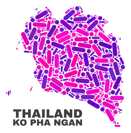 Mosaic Ko Pha Ngan map isolated on a white background. Vector geographic abstraction in pink and violet colors. Mosaic of Ko Pha Ngan map combined of scattered round points and lines.