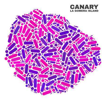 Mosaic La Gomera Island map isolated on a white background. Vector geographic abstraction in pink and violet colors. Mosaic of La Gomera Island map combined of scattered circle dots and lines. Vettoriali
