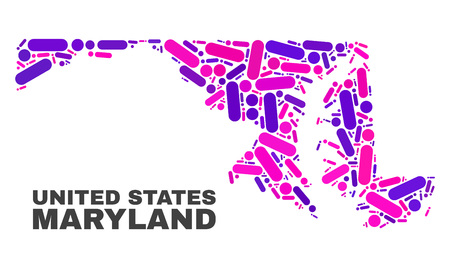 Mosaic Maryland State map isolated on a white background. Vector geographic abstraction in pink and violet colors. Mosaic of Maryland State map combined of random round points and lines.