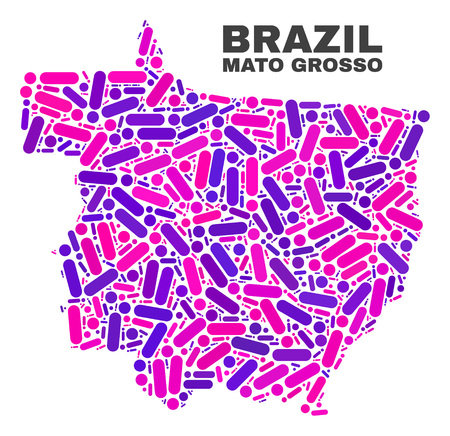 Mosaic Mato Grosso State map isolated on a white background. Vector geographic abstraction in pink and violet colors. Mosaic of Mato Grosso State map combined of random circle dots and lines. Иллюстрация