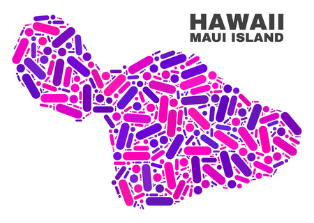 Mosaic Maui Island map isolated on a white background. Vector geographic abstraction in pink and violet colors. Mosaic of Maui Island map combined of scattered round points and lines.