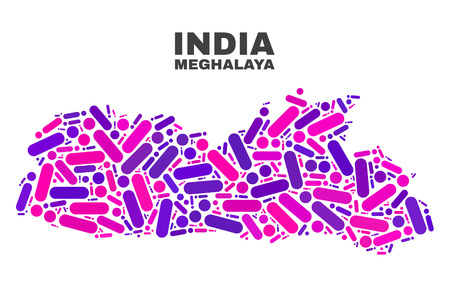 Mosaic Meghalaya State map isolated on a white background. Vector geographic abstraction in pink and violet colors. Mosaic of Meghalaya State map combined of scattered round points and lines. Иллюстрация