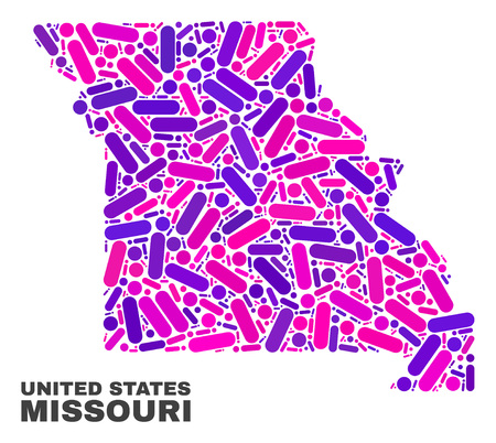 Mosaic Missouri State map isolated on a white background. Vector geographic abstraction in pink and violet colors. Mosaic of Missouri State map combined of scattered circle dots and lines.