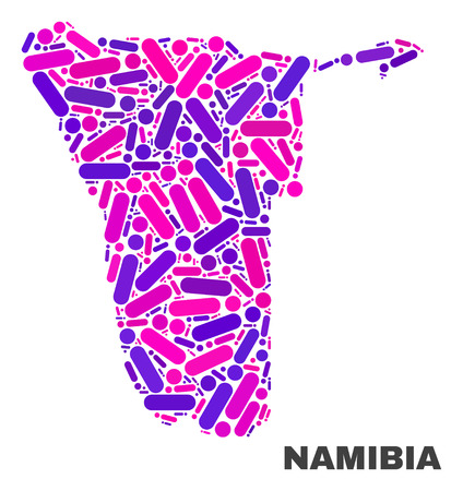 Mosaic Namibia map isolated on a white background. Vector geographic abstraction in pink and violet colors. Mosaic of Namibia map combined of scattered round points and lines. Illustration