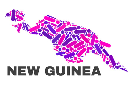 Mosaic New Guinea map isolated on a white background. Vector geographic abstraction in pink and violet colors. Mosaic of New Guinea map combined of random circle dots and lines.