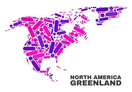 Mosaic North America and Greenland map isolated on a white background. Vector geographic abstraction in pink and violet colors. Illustration
