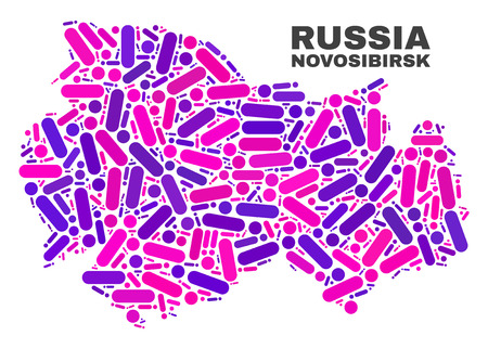 Mosaic Novosibirsk Region map isolated on a white background. Vector geographic abstraction in pink and violet colors. Mosaic of Novosibirsk Region map combined of random round points and lines.