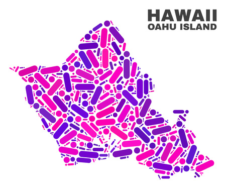 Mosaic Oahu Island map isolated on a white background. Vector geographic abstraction in pink and violet colors. Mosaic of Oahu Island map combined of random circle points and lines.