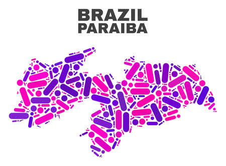 Mosaic Paraiba State map isolated on a white background. Vector geographic abstraction in pink and violet colors. Mosaic of Paraiba State map combined of random circle dots and lines.