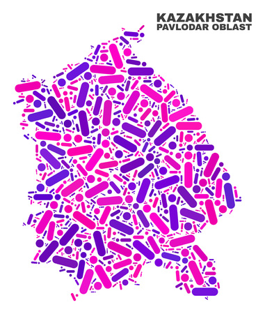 Mosaic Pavlodar Region map isolated on a white background. Vector geographic abstraction in pink and violet colors. Mosaic of Pavlodar Region map combined of scattered circle points and lines. 일러스트