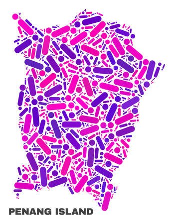 Mosaic Penang Island map isolated on a white background. Vector geographic abstraction in pink and violet colors. Mosaic of Penang Island map combined of scattered round dots and lines.