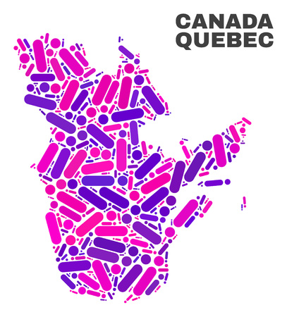 Mosaic Quebec Province map isolated on a white background. Vector geographic abstraction in pink and violet colors. Mosaic of Quebec Province map combined of scattered circle points and lines.