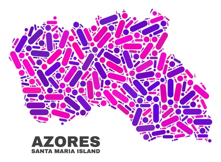 Mosaic Santa Maria Island map isolated on a white background. Vector geographic abstraction in pink and violet colors. Mosaic of Santa Maria Island map combined of scattered circle points and lines. 矢量图像
