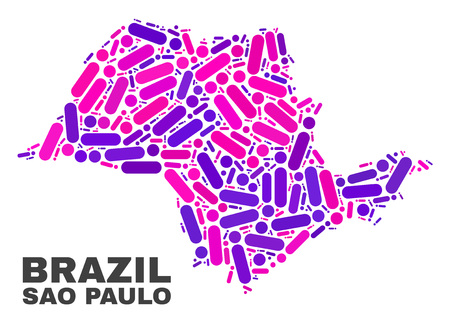 Mosaic Sao Paulo State map isolated on a white background. Vector geographic abstraction in pink and violet colors. Mosaic of Sao Paulo State map combined of random round points and lines.