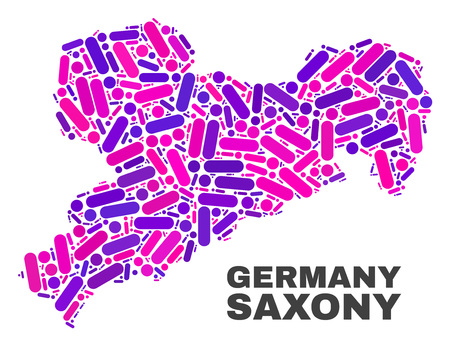 Mosaic Saxony Land map isolated on a white background. Vector geographic abstraction in pink and violet colors. Mosaic of Saxony Land map combined of random circle points and lines. Иллюстрация