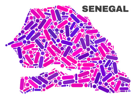 Mosaic Senegal map isolated on a white background. Vector geographic abstraction in pink and violet colors. Mosaic of Senegal map combined of random round dots and lines. Иллюстрация
