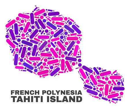 Mosaic Tahiti Island map isolated on a white background. Vector geographic abstraction in pink and violet colors. Mosaic of Tahiti Island map combined of random circle dots and lines.