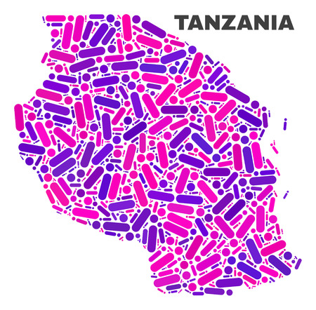 Mosaic Tanzania map isolated on a white background. Vector geographic abstraction in pink and violet colors. Mosaic of Tanzania map combined of random round dots and lines.