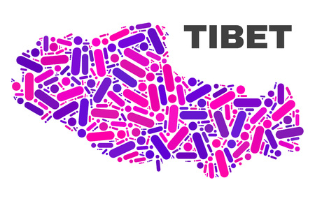 Mosaic Tibet map isolated on a white background. Vector geographic abstraction in pink and violet colors. Mosaic of Tibet map combined of scattered circle points and lines.