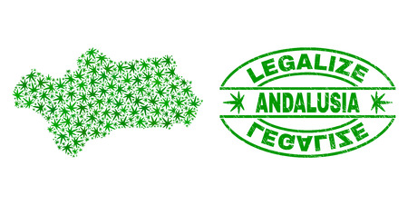 Vector cannabis Andalusia Province map collage and grunge textured Legalize stamp seal. Concept with green weed leaves. Concept for cannabis legalize campaign.