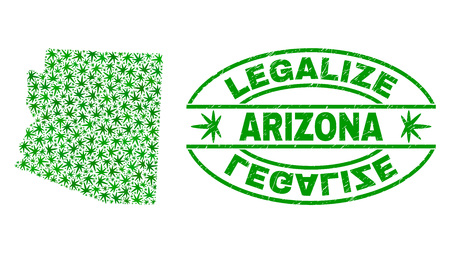Vector cannabis Arizona State map mosaic and grunge textured Legalize stamp seal. Concept with green weed leaves. Concept for cannabis legalize campaign.