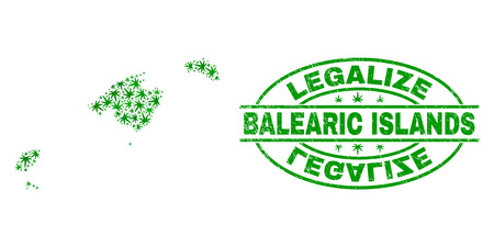 Vector cannabis Balearic Islands map mosaic and grunge textured Legalize stamp seal. Concept with green weed leaves. Template for cannabis legalize campaign. Иллюстрация