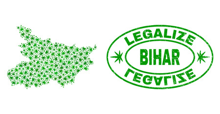 Vector cannabis Bihar State map collage and grunge textured Legalize stamp seal. Concept with green weed leaves. Concept for cannabis legalize campaign.