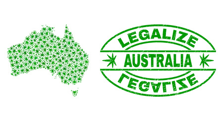 Vector marijuana Australia map collage and grunge textured Legalize stamp seal. Concept with green weed leaves. Concept for cannabis legalize campaign. Illustration
