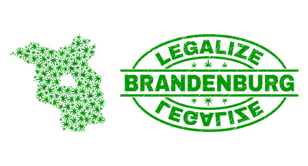 Vector cannabis Brandenburg Land map mosaic and grunge textured Legalize stamp seal. Concept with green weed leaves. Concept for cannabis legalize campaign. Illustration